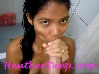 Heather Deep 1st Shower deep throat cum swallow