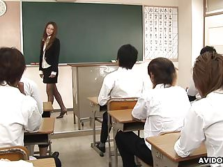 Naughty teacher teaches her studens a sex lesson