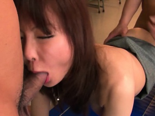Beautiful Japanese babe is gangbanged in hammer away classroom