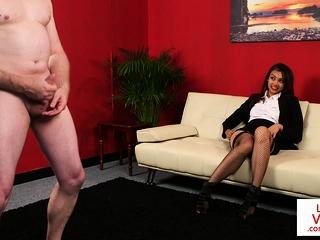 Stockinged CFNM voyeur enjoys concerned agree with jerking off