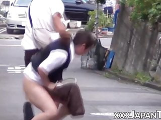 Unassuming Japanese women in uniform groped in public