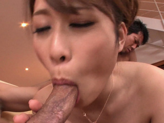 Japanese babe, Rika Aiba likes it hither two men, uncensored