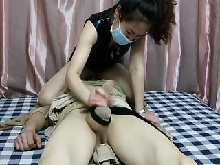 Chinese femdom floss stockings dominant cock footjob