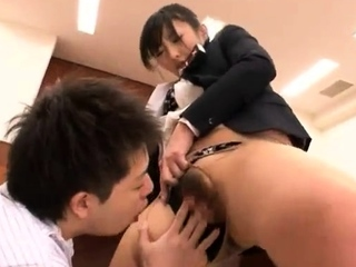 Sexy Japanese in uniform topped up in her hairy muff hole