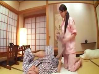 Dutiful Japanese housewife gives her husband a blowjob and gets fucked before they nod off for the night