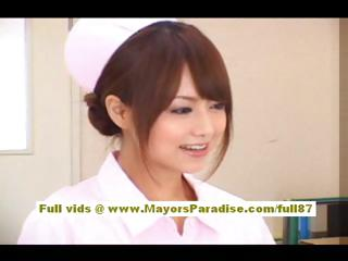 Akiho Yoshizawa Sexy Asian nurse enjoys chaff the doctor