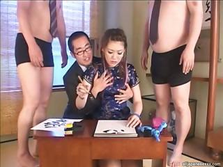 Japanese Glamour Babe Yukino Sucking Three Dicks